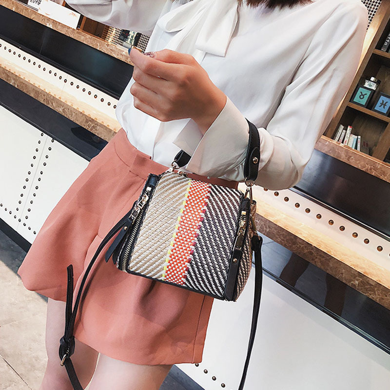 Hot Women Panelled Handbag INS Popular Female Casual Summer Straw Bags Lady Beach Shoulder Bag Fashion Travel Woven Tote SS7221 (2)