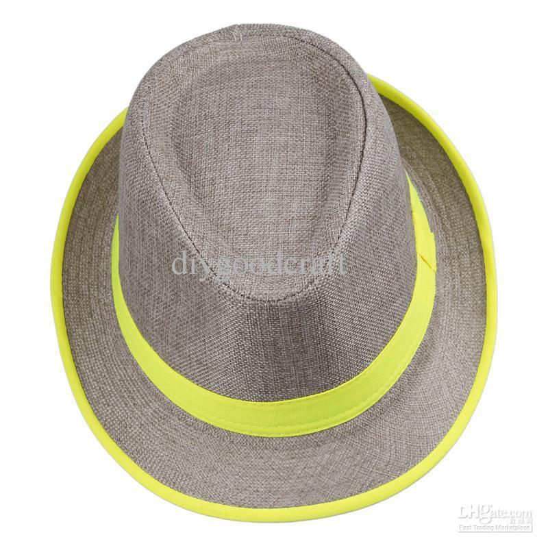 Fashion Straw Panama Fedora Caps Solid Dress Hats Stylish Spring Summer Beach Sun Hat Colors Choose DHV*10