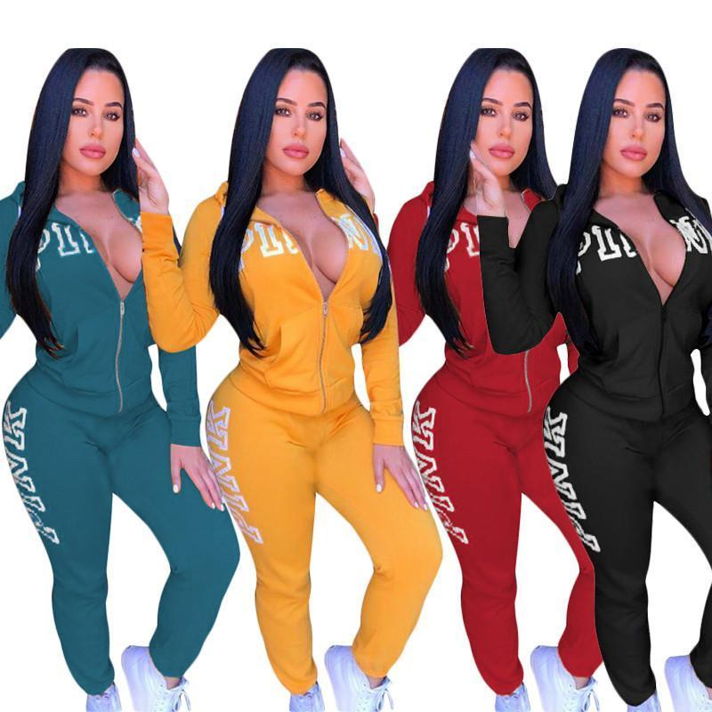 Pink Letter Tracksuit Zipper Hooded Jacket Hoodies + Pants Trousers Women Set Winter Fall Outfit Pink Sweatershirt Sweatsuit Clothes