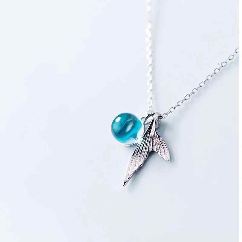 Fantastic 925 Sterling Silver Mermaid Fish Tail Pendant Necklace with Blue Ocean Crystal