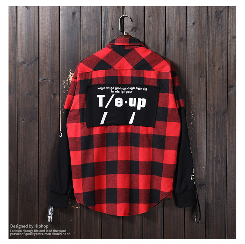 Red And Black Plaid Patchwork Shirt Men (15)