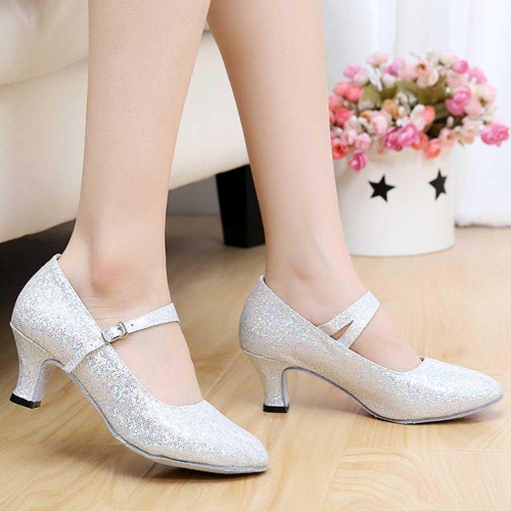 Designer Dress Shoes Women's Pumps Spring Summer Mid-High Heels Glitter Ballroom Latin Tango Rumba Dance Wedding Sapato Feminino