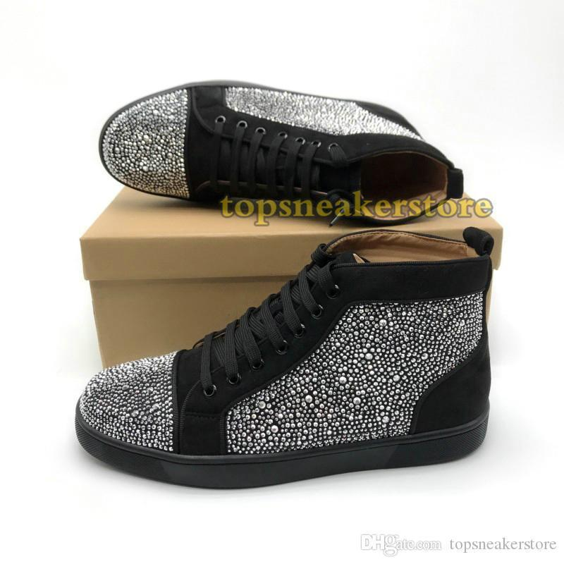 Red Designer Luxury Bottom Studded Spikes Sneakers Men Women Casual Shoes Black Party Lovers Rhinestones Leather Glitter Girls Boots