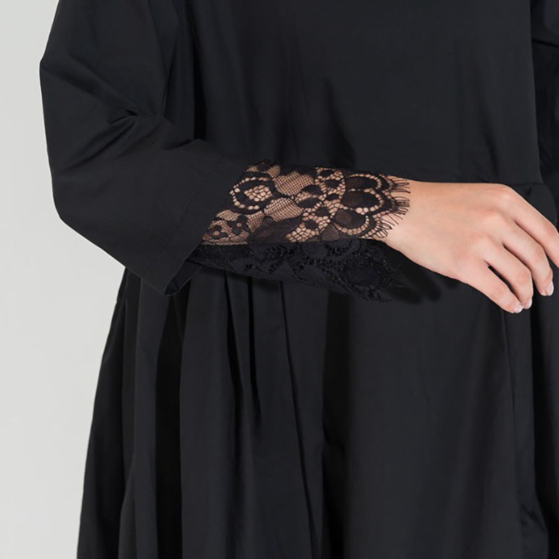 [eam] 2019 Spring Fashion Trend New Korean Lace Hem Solid Fold Stitch Long Sleeve Two Piece Dress Temperament Woman Y13100 Y19051001