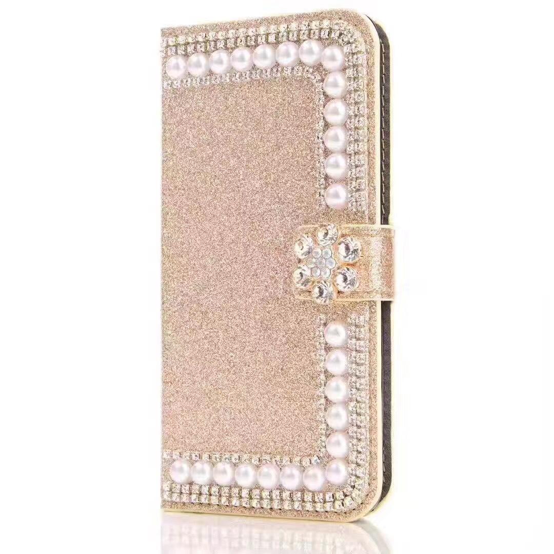 Роскошный дизайнер Алмаз Жемчужина цветок бумажник чехол для IPhone X XS MAX XR 8 7 6 6S Plus стенд карты задняя крышка аксессуары