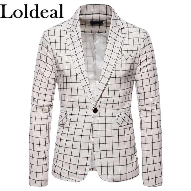 Men/'s Black/&White Plaid Cotton Linen Summer Suits Peak Lapel Leisure Blazer Coat