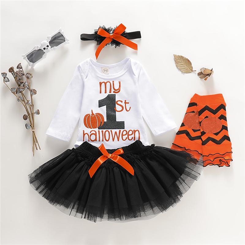 Infant Toddler Baby Girls Halloween Dress Outfits Leopard Ruffle Pumpkin Print Bowknot Elastic Waist Skirt Princess Clothes