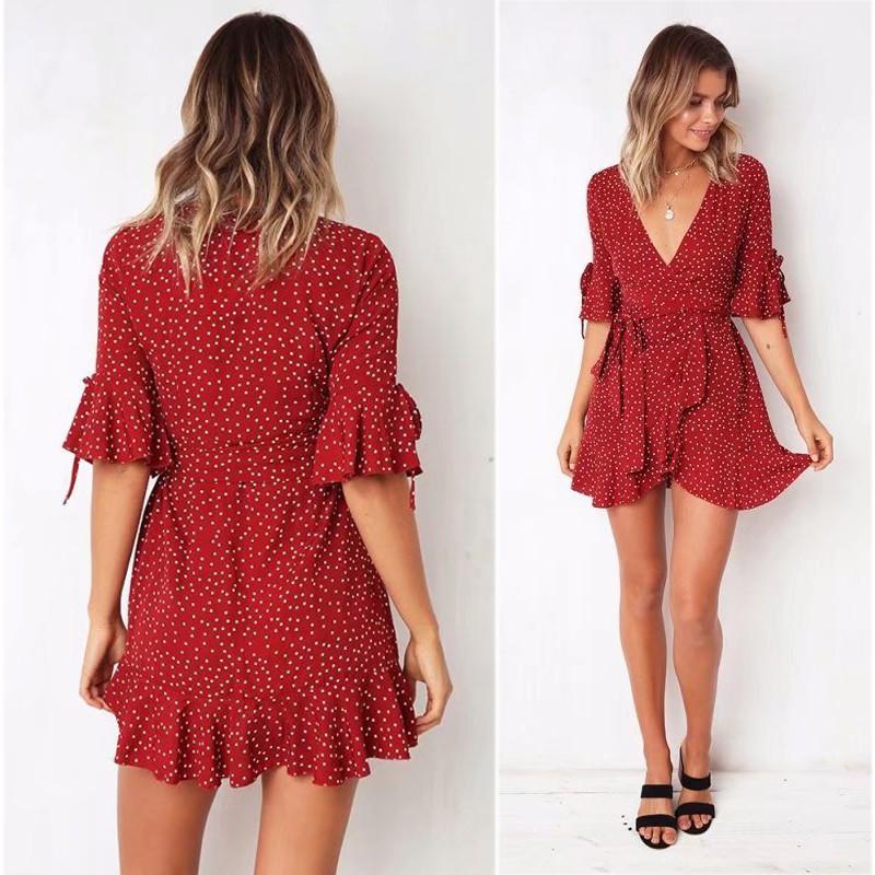 yinlinhe Red Polka Dot Summer Dress Short Sleeve V neck Sexy Wrap Dress Women Slim Waist Elegant Boho Ruffles Vestidos