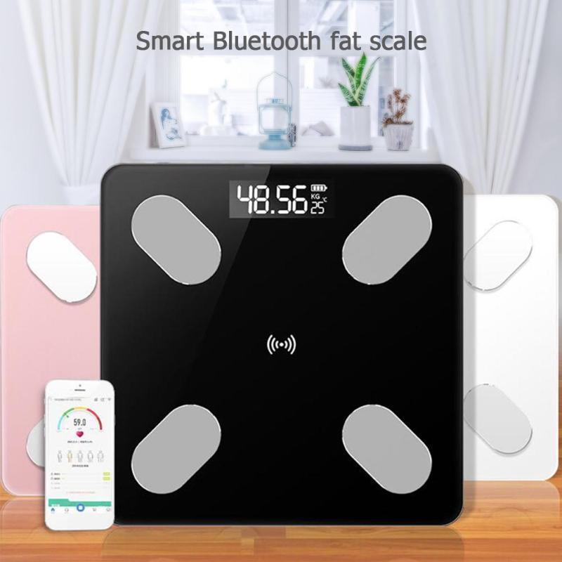 Escala de grasa corporal digital digital Voz inteligente APLICACIÓN Bluetooth Básculas electrónicas para Apple / IOS Baño Equilibrio del hogar D19011702