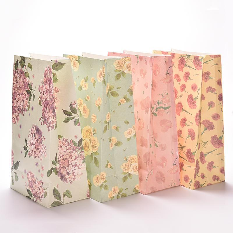 3PCS Flower Print Kraft Paper Small Gift Bags Sandwich Bread Food Bags Party Wedding Favour Supplies 23x13cm