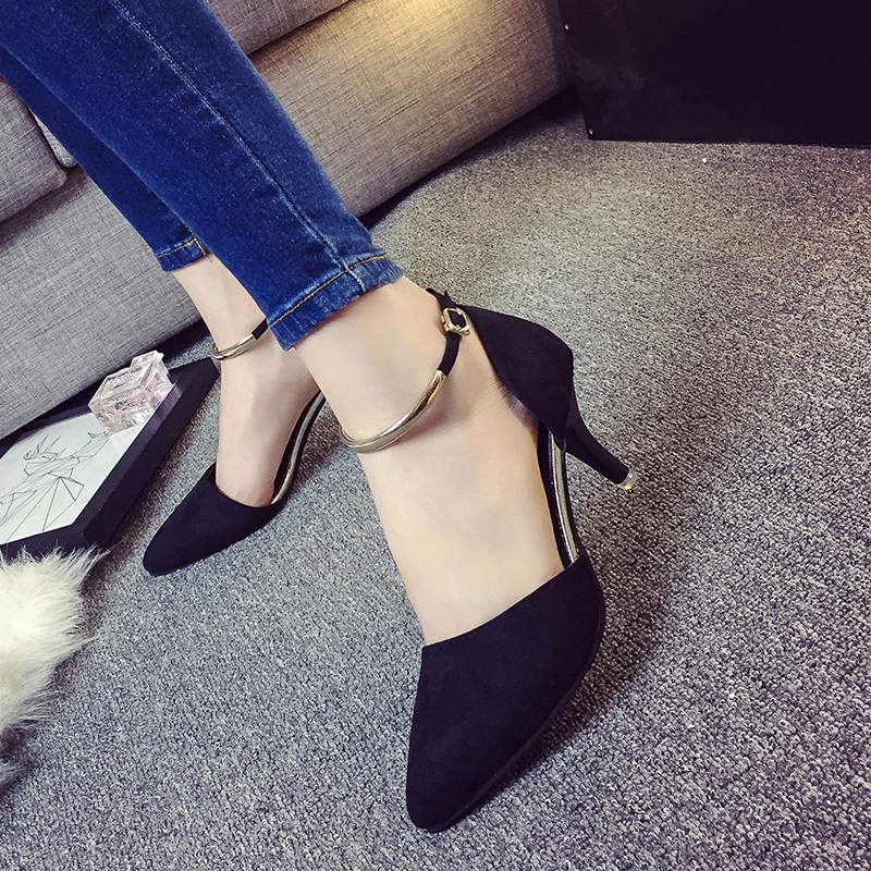 Designer Dress Shoes Spring Summer Woman High Heels Metal Ankle Strap Pumps For Women Ladies Dress Buckle Strap zapatos mujer 31h95