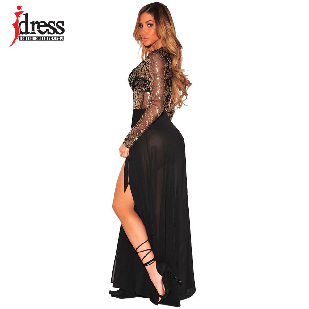 IDress 2018 Autumn Bodysuit Women Sexy O-Neck Gold Print Lace Jumpsuit Romper Black Party Elegant Jumpsuit Overalls For Women (1)