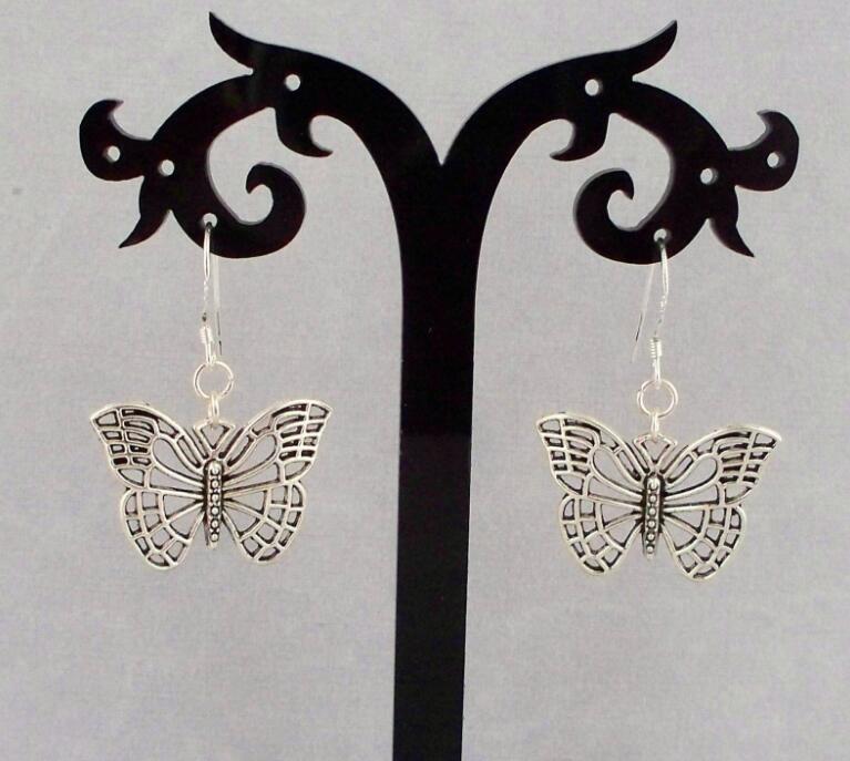 nuevo.. Un Par de Aretes Mariposas de Plata Tibetana Con 925 Ganchos De Plata Maciza