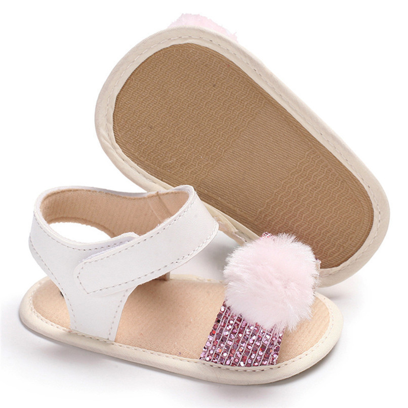 3 Color Summer Baby Girl Shoes Newborn Toddler Baby Girl Soft Ball Sequins Sandals Soft Sole Anti-slip Shoes Girl Sandals JE14#F (9)