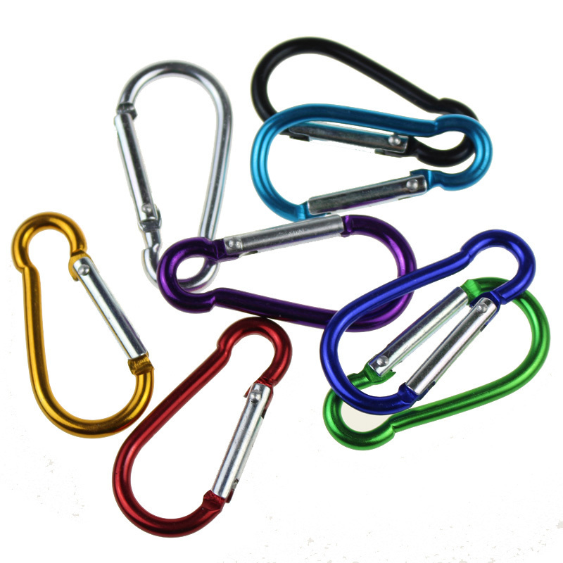 Colorful Aluminum Alloy R Shaped Carabiner Keychain Hook Spring Snap Clip Camping Hiking Climbing Accessory Kits