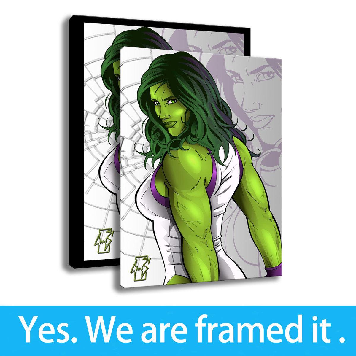 Art Oil Painting Print On Canvas Home Decor The She Hulk Framed