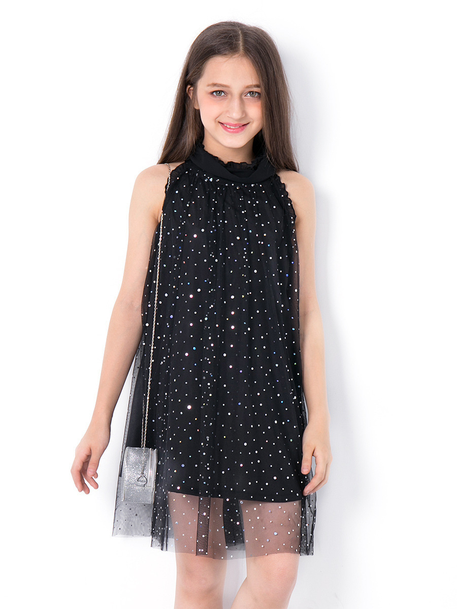8d1653bcd57d0 2019 Kids Dresses For Girls Summer Dress Sequined Teen Casual Clothes Black  Princess Party Dress Fashion For Teenage Children 6 14y J190505 From ...