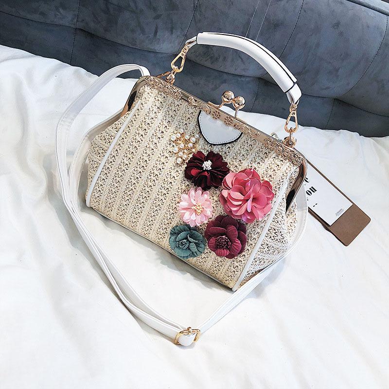 Women Pearl Handbag INS Popular Female Summer Flower Straw Bag Lady Fashion Shoulder Bag Travel Beach Woven Crossbody Bag SS7220 (11)
