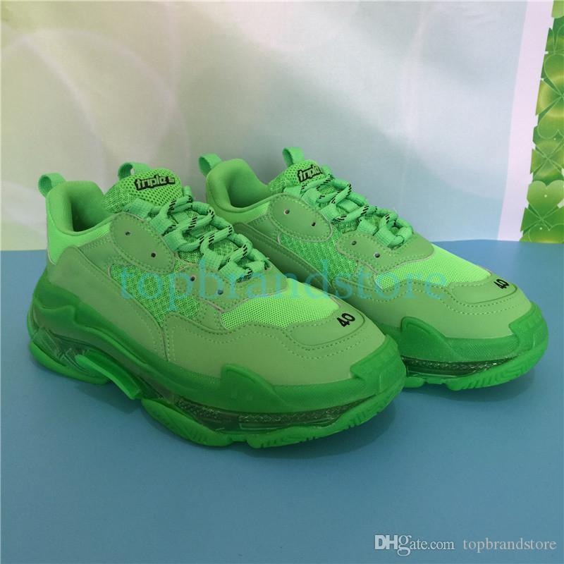 Triple S men designer shoes clear sole black neon green white yellow rainbow gym red blue grey women luxury fashion sneakers