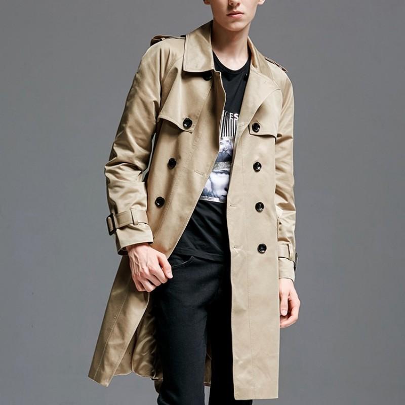 XQS Mens Fleece Hoodies Overcoat Mid Long Windbreaker Trench Coat