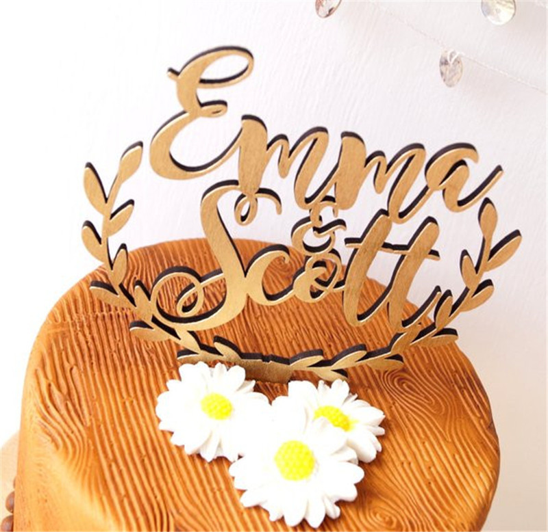 Personalized Names Wedding Cake Topper, wooden rustic wedding cake topper, acrylic cake topper custom (1)