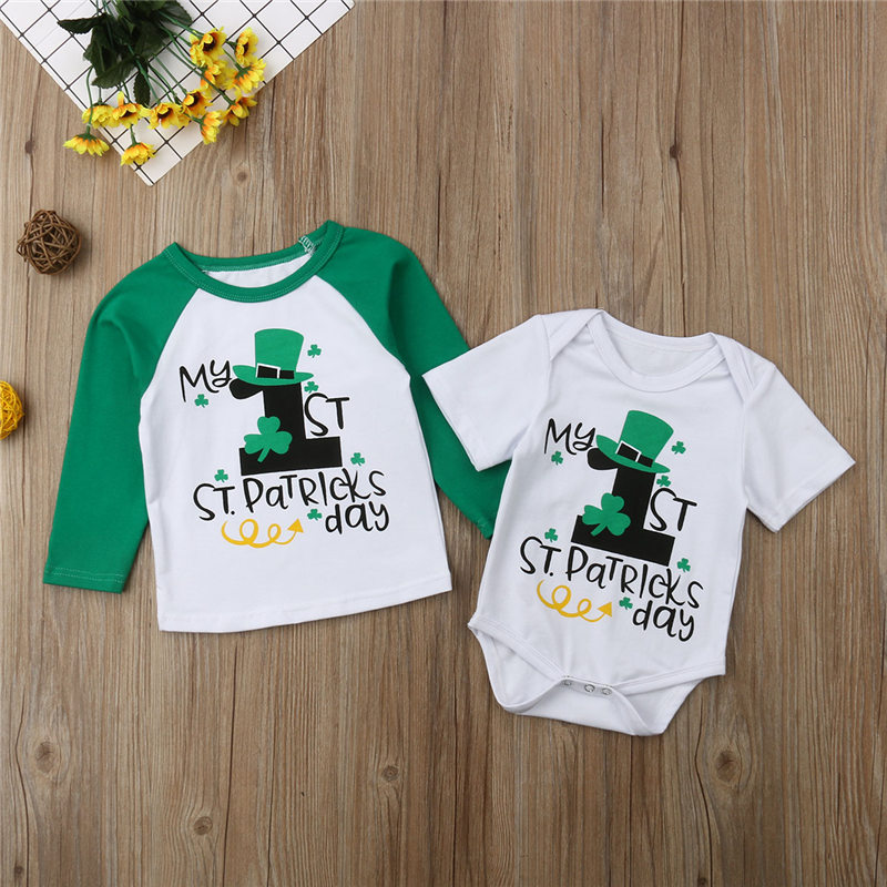 2019 Baby Boy Girl Clothes My First St Patrick S Day Outfit Newborn Cotton Bodysuit Toddler Kid T Shirt Infant Brother Clothing Good Family Picture