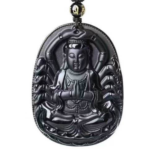 Hand-carved The Buddhist Goddess Guanyin Black Obsidian Pendant Necklace Sweater Chain Jewelry Gift Wholesale