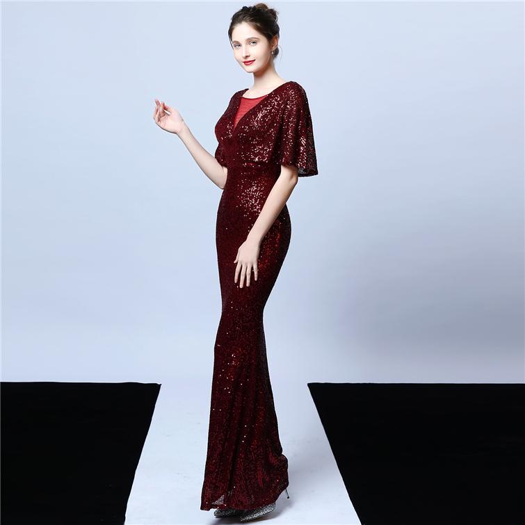 18013#Elegant women sequin long mermaid formal bridesmaid dress luxury evening dresses Arab Annual meeting car model