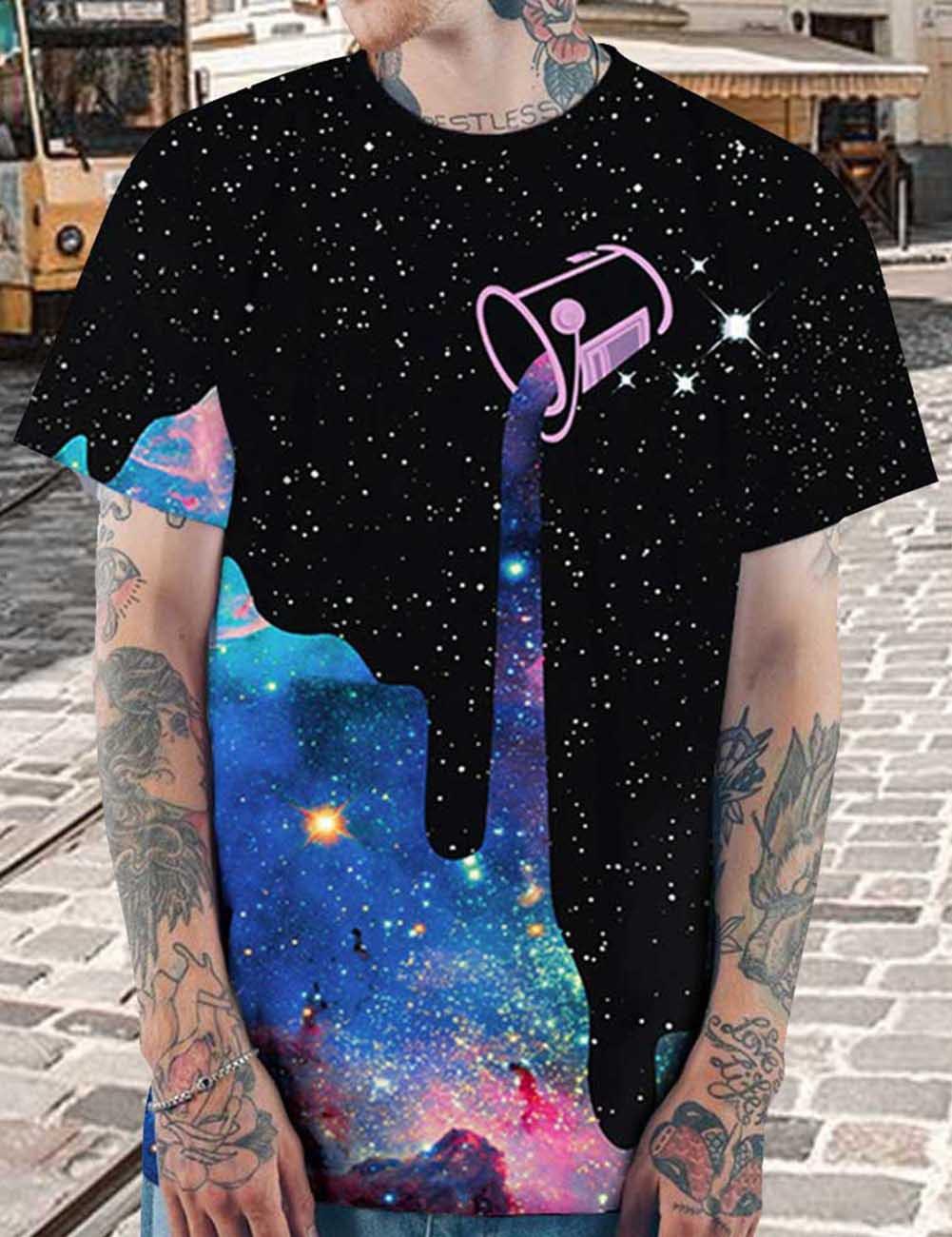 Летняя мода Новый дизайн Star Milk Cup Цифровая печатная футболка в 2019 году популярный стиль мужские футболки с коротким рукавом мужские рубашки