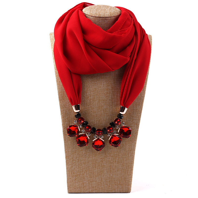 CADANIA Scarf Headwrap Chiffon Necklace Pendant Jewelry Hijab Floral Printing Soft Women 1# Red
