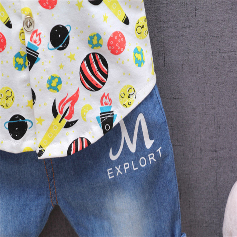 2PCS Baby Boys Sets Newborn Infant Baby Boys Short Sleeve Rocket Print T-shirt Tops+Denim Pants Sets Baby Boys Clothes M8Y16 (16)