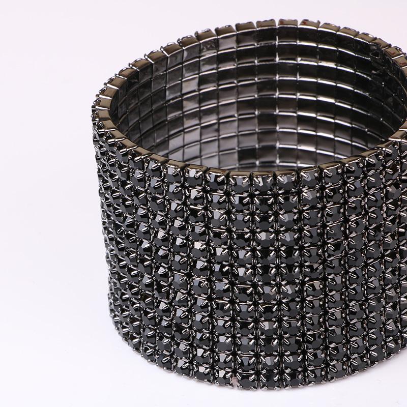 TDQUEEN 12 Rows Black Crystal Rhinestone Bangle Bracelet Black Gun Plated Metal Wide Indian Bangles for Women (5)