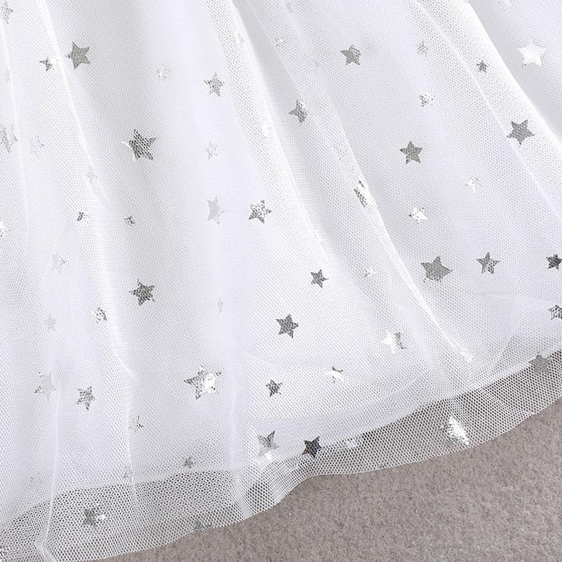 Xunqicls 3-10y новорожденных девочек блестки платье звезда печатается с поясом без рукавов принцесса ну вечеринку детские платья MX190724