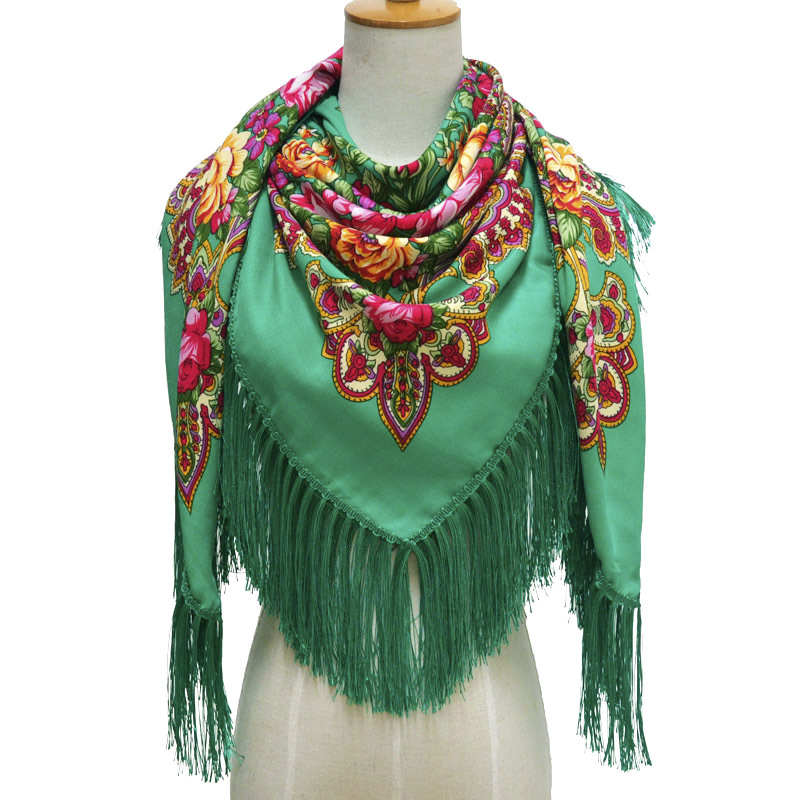 Russian Large Size Fringed Scarf Autumn And Winter National Wind Shawl Female Retro Printed Flower Square Scarf