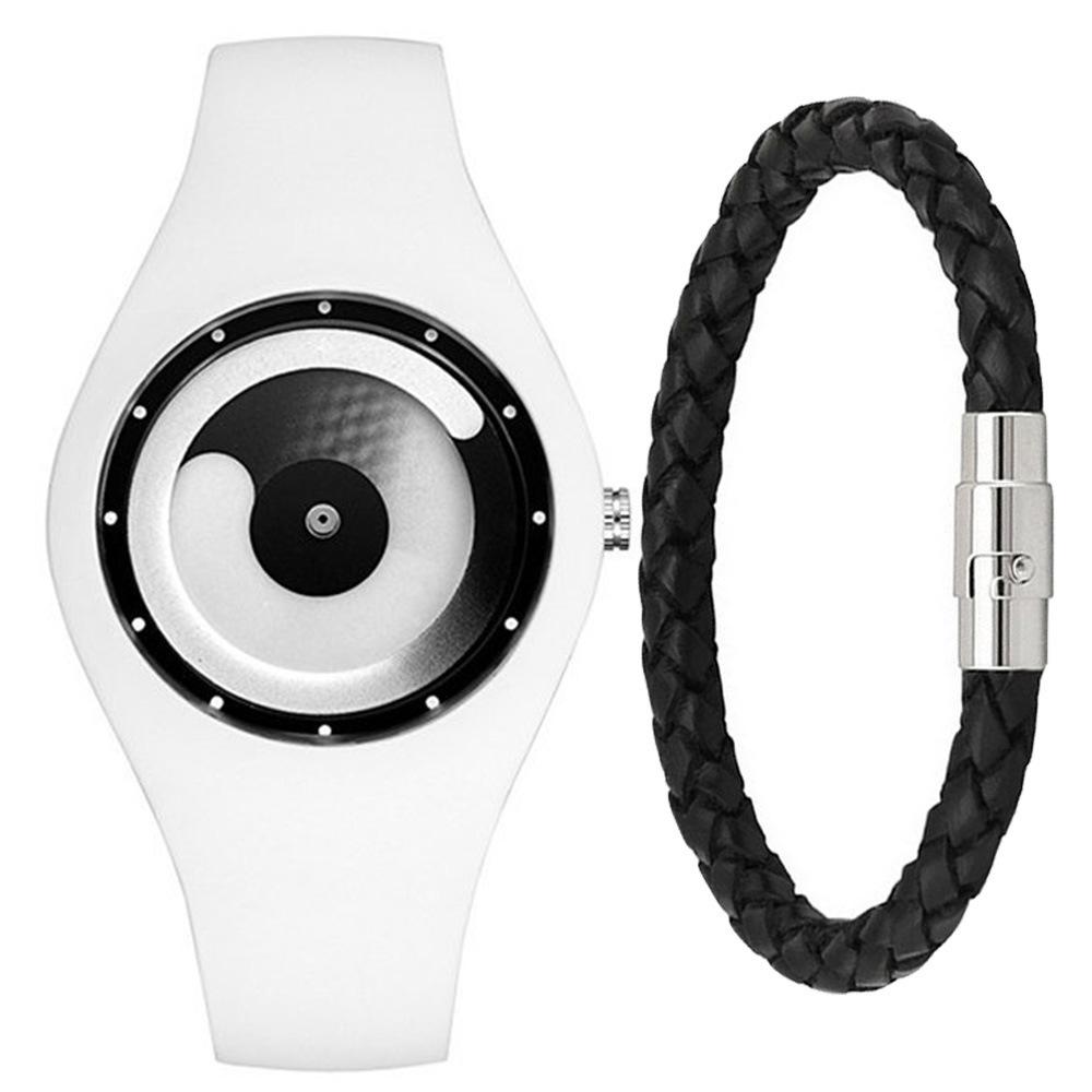 Leisure Time Originality Time Concept Time Silica Gel Electronics Wrist Watch + Bracelet