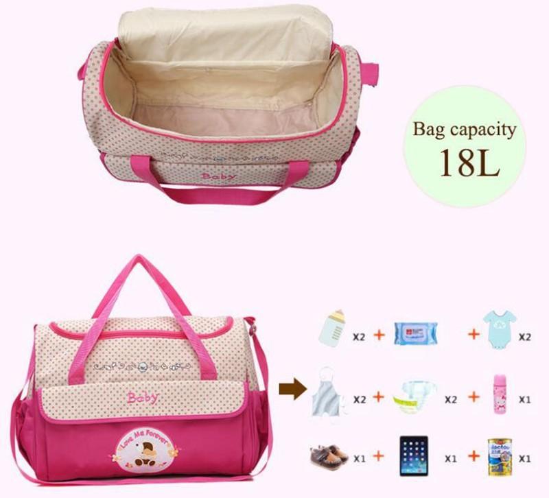 CROAL CHERIE 381830cm5pcs Baby Diaper Bag Sets changing Nappy Bag For Mom Multifunction Stroller Tote Bag Organizer (2)