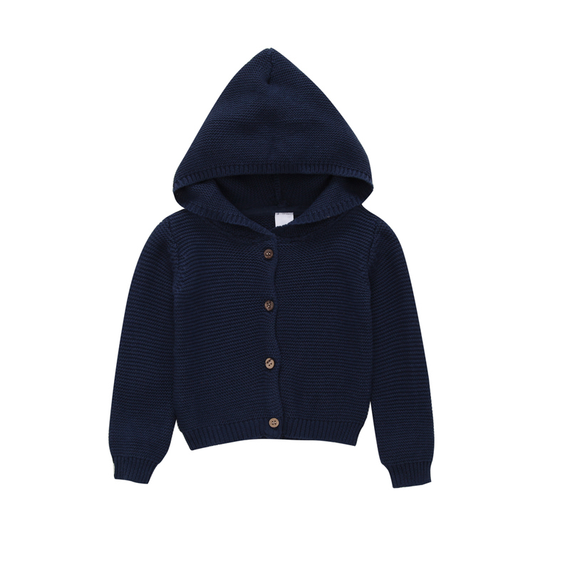 2018 spring autumn 0-3 year baby girl clothes long sleeve sweater hooded with pocket navy white kid girls cardigan children tops