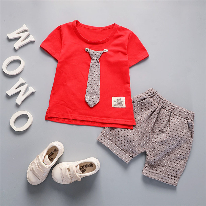 2Pcs Baby Sets Boy Toddler Kids Baby Boys Short Sleeve Solid Tie T-shirt Top+Print Pants Set Baby Boy Clothes Clothing M8Y18 (16)