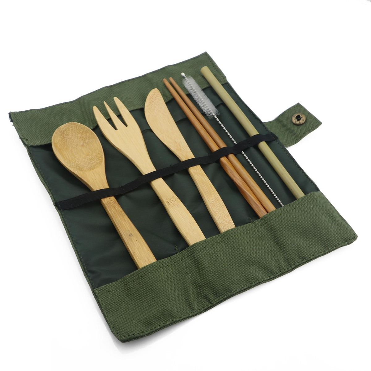 7-Piece Japanese Wooden Cutlery Set Bamboo Straw Dinnerware Set With Cloth Bag Utensil Soup Kitchen Cooking Tools Dropshipping C18112701
