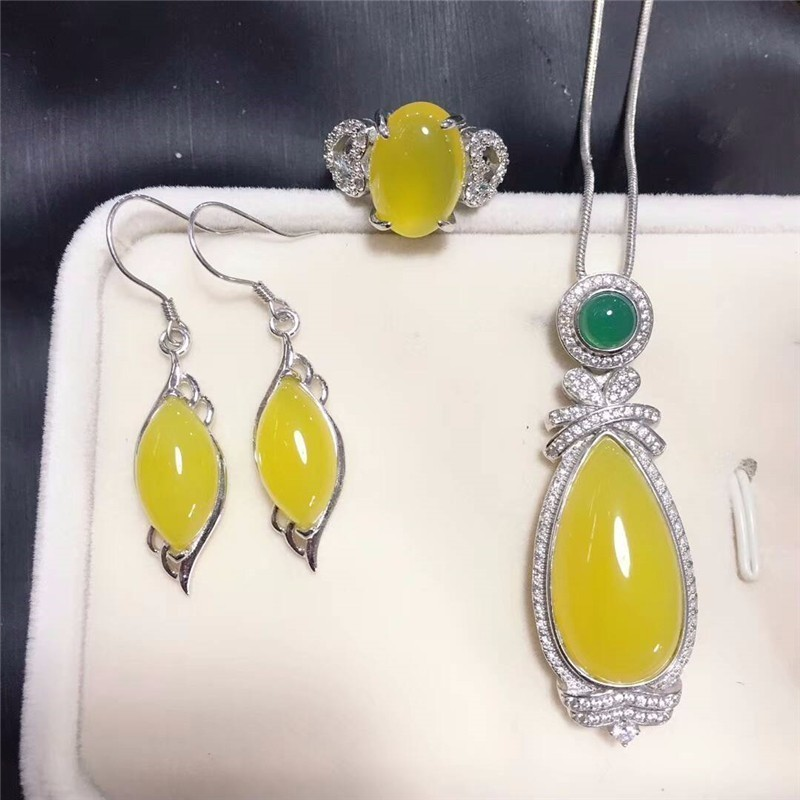 Fine Jewelry 925 Silver Inlaid Natural Jade Gemstone Pendant Necklace Ring Bracelet Set Multiple Styles Gifts