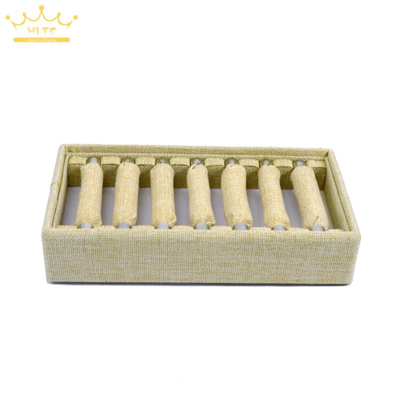Material de lino Exhibición de anillos Bandeja de almacenamiento Joyería Mostrando bandejas Anillos desmontables Organizador del titular Casos 24 * 13 * 5 cm