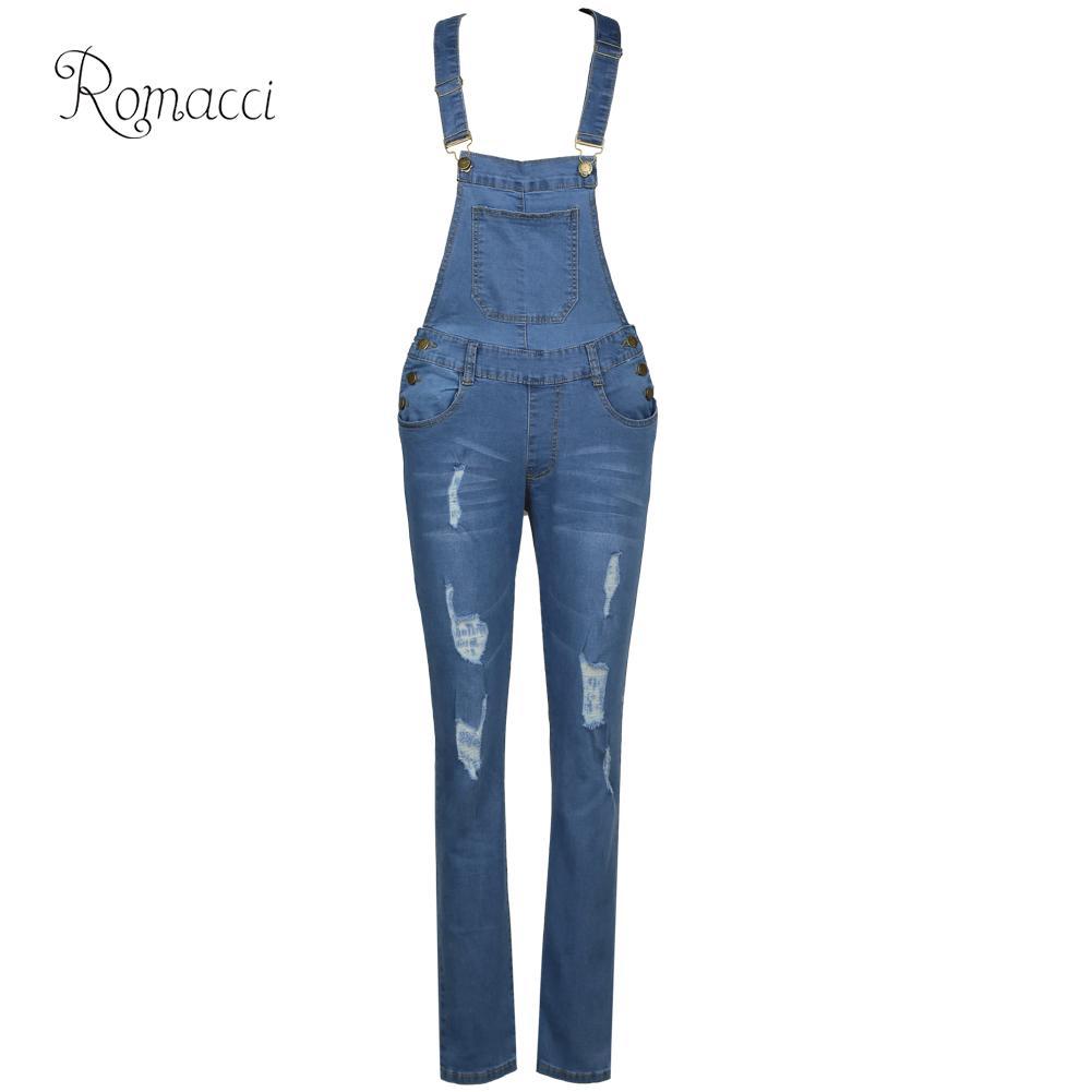 wholesale Denim Overalls Women Ripped Sleeveless Denim Jumpsuit Casual Sexy Romper Elegant Ladies Denim Pants Slim Dungarees 2019