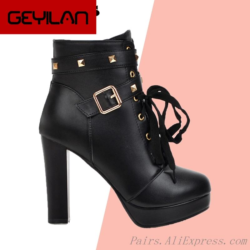 Womens High Heel Platform Studs Buckle Straps Ankle Boots Shoes Size Zip Up New