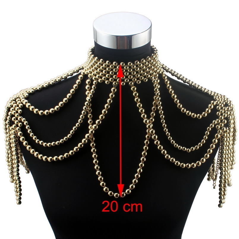 Florosy Long Bead Chain Chunky Simulated Pearl Necklace Body Jewelry For Women Costume Choker Pendant Statement Necklace New J190625