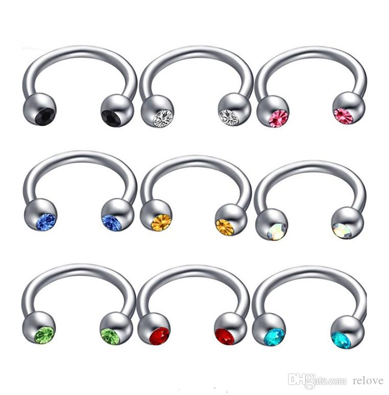 60Pcs Hoop Nose Lip Tongue Sourcil Tragus Navel Belly Ring Stud Body Piercing