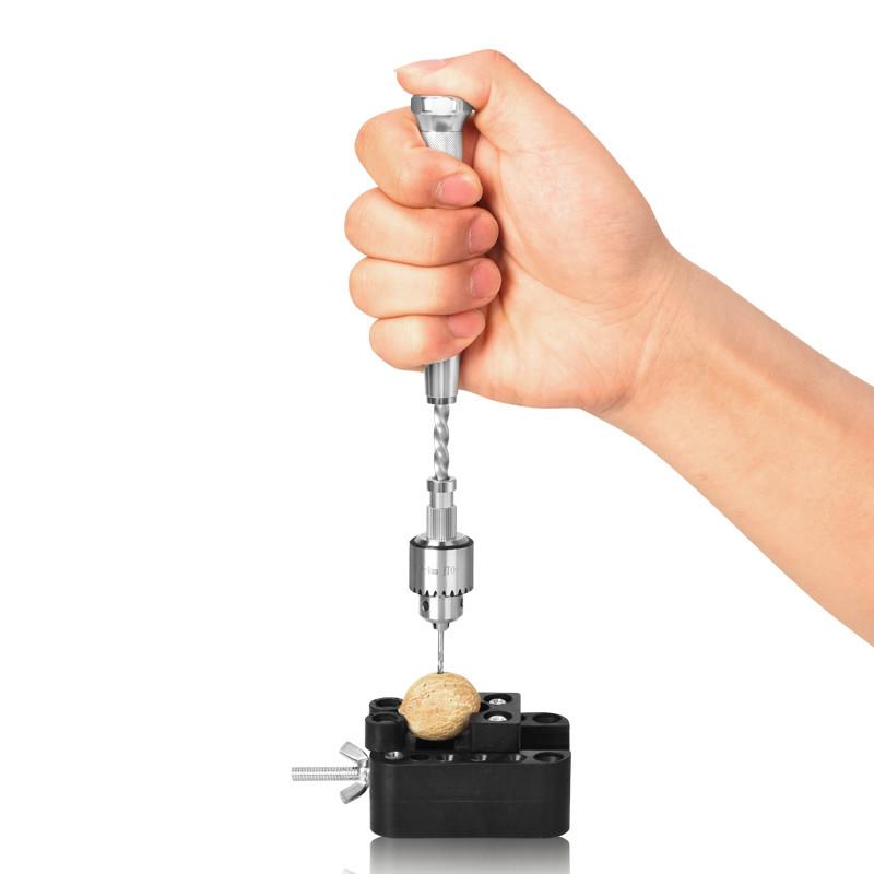 Spiral Hand Drill Semi-Automatic Pin Vise Keyless Chuck Jewelry Walnut Manual Drilling Hole Carving Twist Drill Bit 0.5-3.0mm Blue