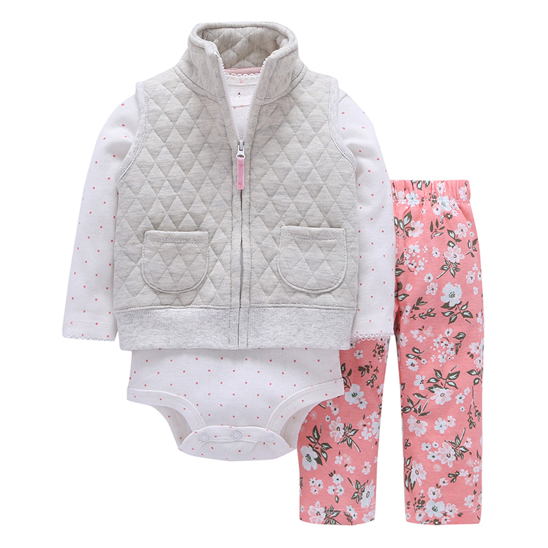 baby girl clothes cotton gray vest with pocket +dot Long sleeve romper+floral pants 2018 spring outfit newborn baby boy costume