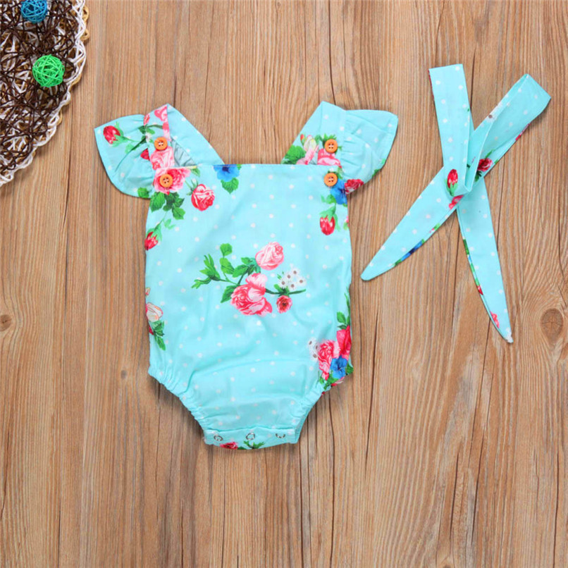 Summer Girls Sets Cute Toddler Baby Girls Bodysuit Sleeveless Floral Jumpsuit Romper+Headband Clothes Set M8Y07 (2)