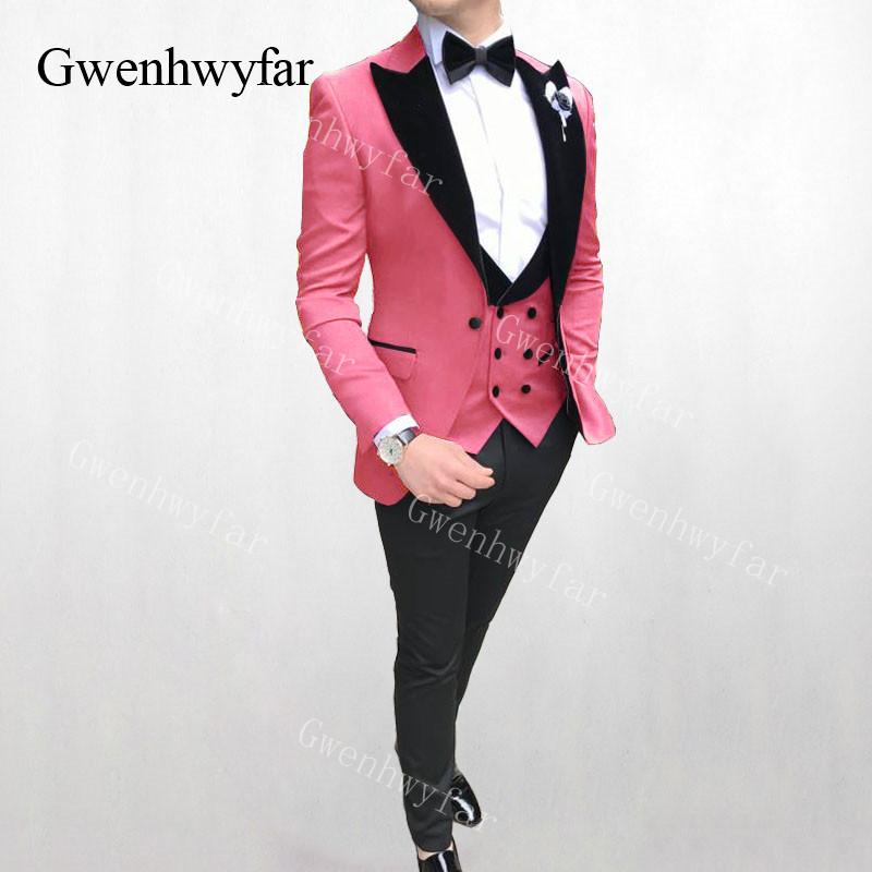 Retro Flamingo Pink Shawl Lapel One Button Tuxedo Suit Jacket Vintage Prom