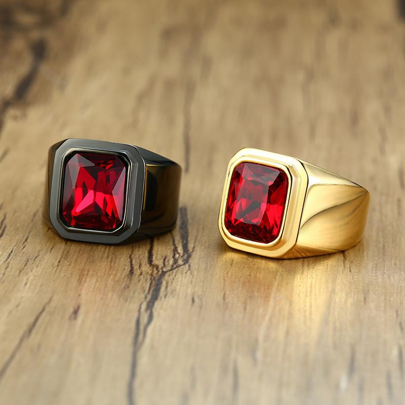 Or En Acier Inoxydable Noir Carré Pierre Agate Ring Band Fashion Jewelry 8-11#
